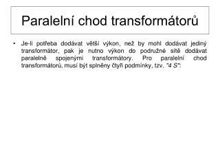 Paralelní chod transformátorů