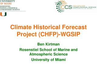 Climate Historical Forecast Project (CHFP)-WGSIP