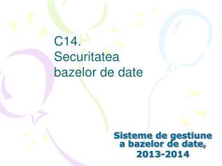 C14. Securitatea  bazelor de date