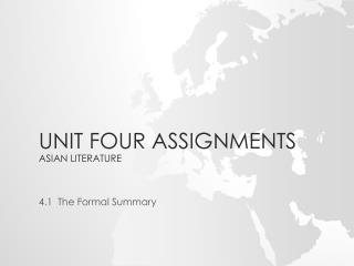 Unit Four Assignments Asian Literature