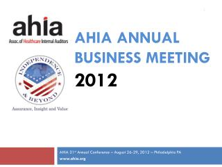 AHIA Annual Business  MEeting 2012