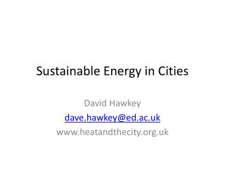 Sustainable Energy in Cities