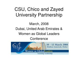 CSU, Chico and Zayed University Partnership