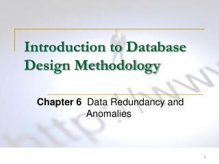 Introduction to Database Design Methodology