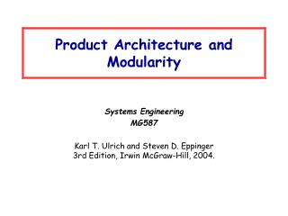 Product Architecture and Modularity