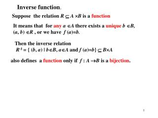 Suppose  the relation R  A B is a function