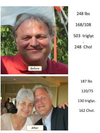 187  lbs   120/75    130  triglyc .  162  Chol .
