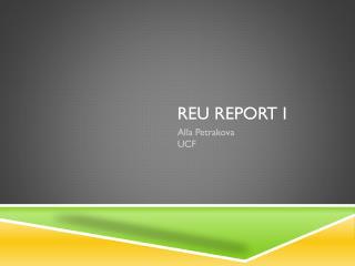 REU  Report I