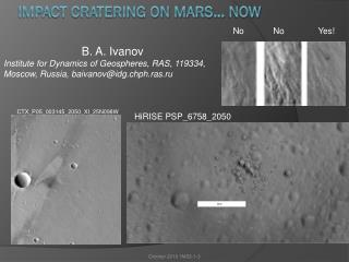 Impact cratering on Mars…  Now