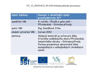 VY_32_INOVACE_Př.4.09-Ochrana  přírody-prezentace