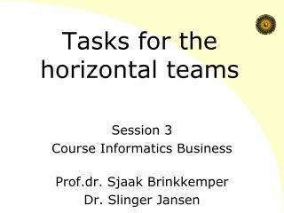 Tasks for the horizontal teams