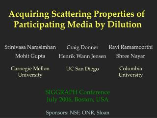 Acquiring Scattering Properties of  Participating Media by Dilution SIGGRAPH Conference