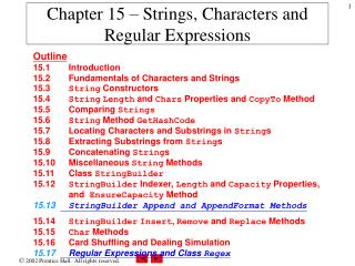 Chapter 15 – Strings, Characters and Regular Expressions