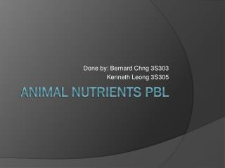 Animal Nutrients PBL