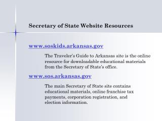 Secretary of State Website Resources