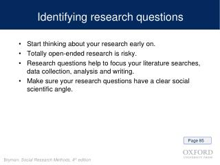Identifying research questions