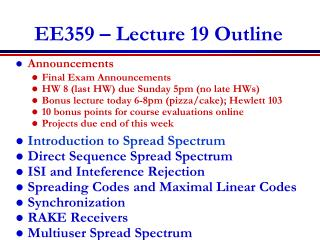 EE359 � Lecture 19 Outline