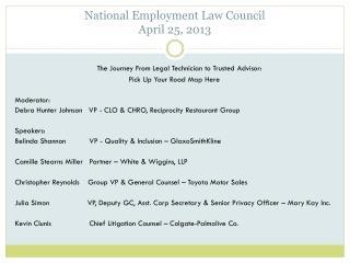 National Employment Law Council  April 25, 2013
