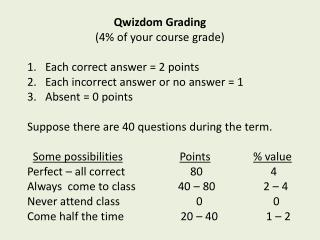 Qwizdom  Grading (4% of your course grade) Each correct answer = 2 points