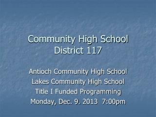 Community High School District 117