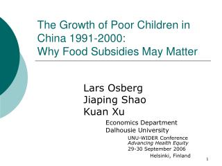 The Growth of Poor Children in China 1991-2000: Why Food Subsidies May Matter