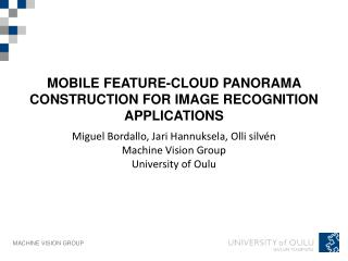 Mobile  feature-cloud panorama construction  for  image recognition applications