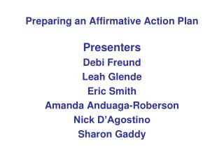 Preparing an Affirmative Action Plan