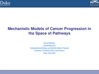 Mechanistic Models of Cancer Progression in the Space of Pathways
