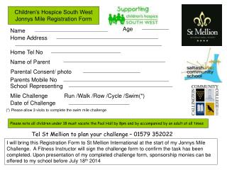 Children's Hospice South West Jonnys Mile Registration Form