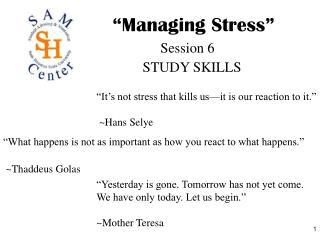 �Managing Stress�