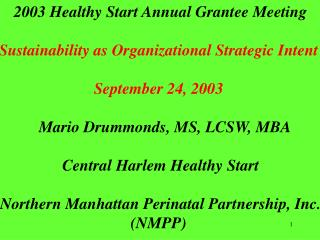 2003 Healthy Start Annual Grantee Meeting  Sustainability as Organizational Strategic Intent