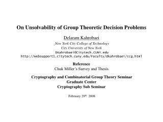Group Theoretic Decision Problems
