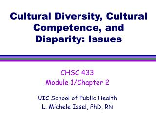 Cultural Diversity, Cultural Competence, and Disparity: Issues