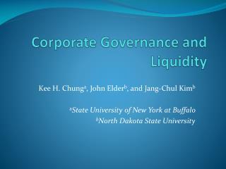 Corporate Governance and Liquidity