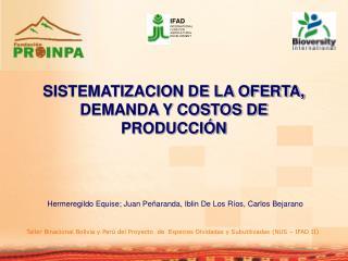 SISTEMATIZACION DE LA OFERTA, DEMANDA Y COSTOS DE PRODUCCIÓN