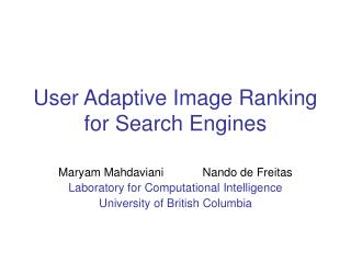 User Adaptive Image Ranking for Search Engines
