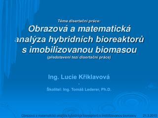 Ing. Lucie Křiklavová - Školitel: Ing. Tomáš Lederer, Ph.D.