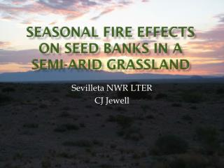 Seasonal Fire Effects on Seed Banks in a  Semi-arid  Grassland