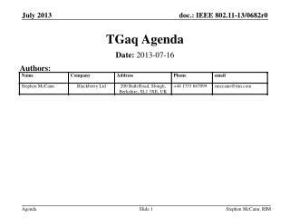 TGaq Agenda