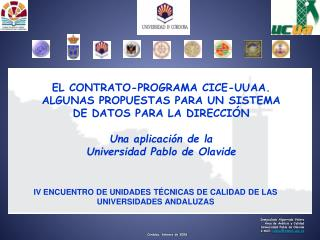Inmaculada Algarrada Valero Área de Análisis y Calidad Universidad Pablo de Olavide
