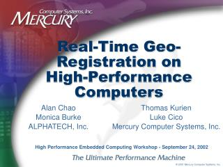 Real-Time Geo-Registration on High-Performance Computers