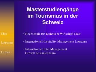 Masterstudiengänge im Tourismus in der Schweiz