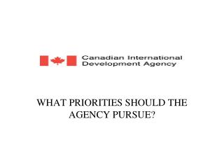 WHAT PRIORITIES SHOULD THE AGENCY PURSUE?
