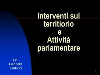 Interventi sul territiorio  e  Attività parlamentare
