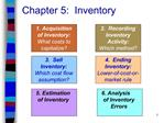 Chapter 5:  Inventory