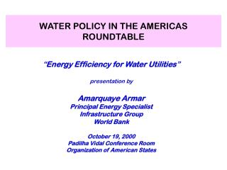 WATER POLICY IN THE AMERICAS ROUNDTABLE