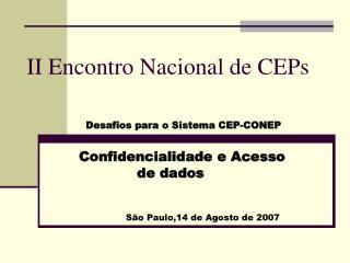 II Encontro Nacional de CEPs