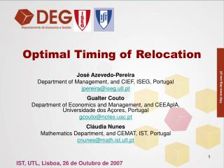 Optimal Timing of Relocation