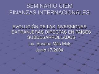 SEMINARIO CIEM FINANZAS INTERNACIONALES