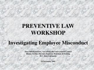PREVENTIVE LAW WORKSHOP